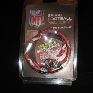 NEW in pk Falcons Leather Spiral Football Necklace